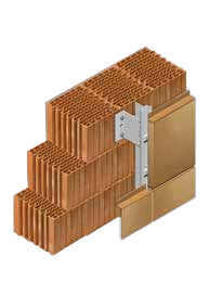 Кладка стены из керамических блоков KAIMAN 30 с применением навесного вентилируемого фасада