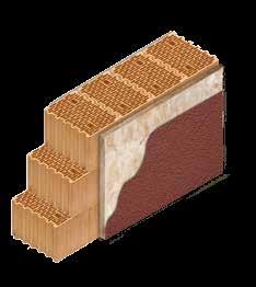 Кладка стены из керамических блоков KERAKAM 38 Thermo с утеплителем декоративной фасадной штукатуркой